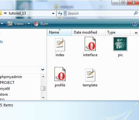 Screenshot of folders