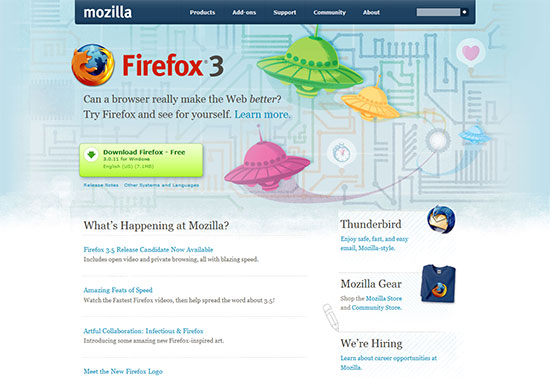 "The ""Download Firefox"" button is clearly visible on the Mozilla home page."