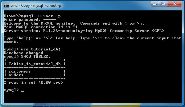 how to show whats in a table mysql command line